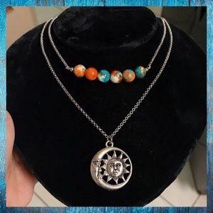 Double row boho bead necklace moon & sun charm
